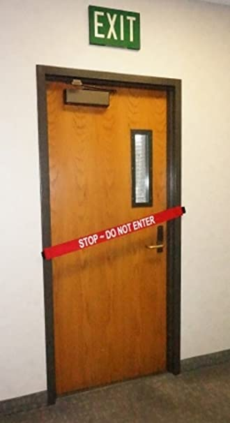 STOP - DO NOT ENTER Safety Door Barrier with Magnetic Ends & Amazon.com : STOP - DO NOT ENTER Safety Door Barrier with Magnetic ...