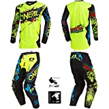 O'Neal Element Villain Neon Yellow Adult motocross MX off-road dirt bike Jersey Pants combo riding gear set (Pants W28 / Jersey Small)