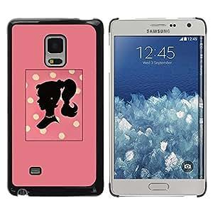 TopCaseStore / la caja del caucho duro de la cubierta de protección de la piel - Polka Dot Woman Peach Yellow Pattern - Samsung Galaxy Mega 5.8 9150 9152