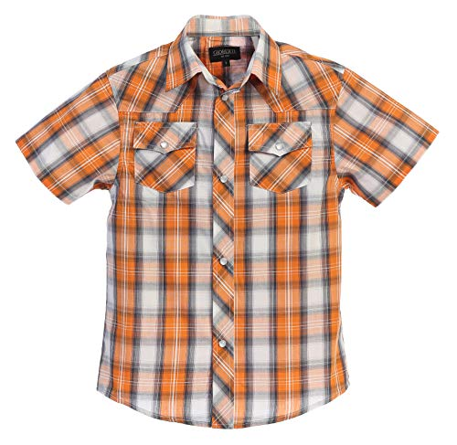 Gioberti Boys Casual Western Plaid Pearl Snap-on Buttons Short Sleeve Shirt, Orange/Gray : Size - Pearl Sleeve Short Snap
