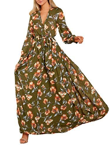 (Ybenlow Womens Boho Floral Chiffon Deep V Neck Wrap Long Sleeve Flowy Party Maxi Dresses with Belt Green)