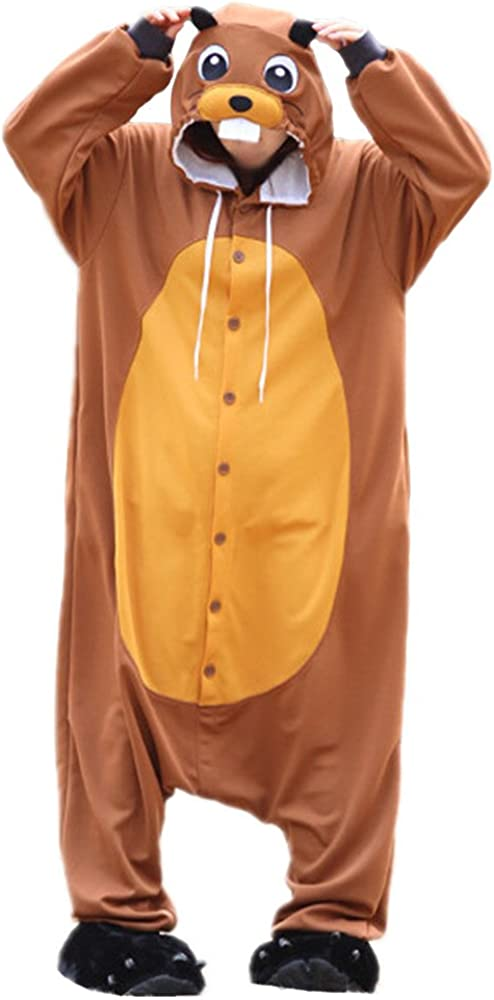 WOTOGOLD Animal Cosplay Costume Beaver Mens Womens Pajamas