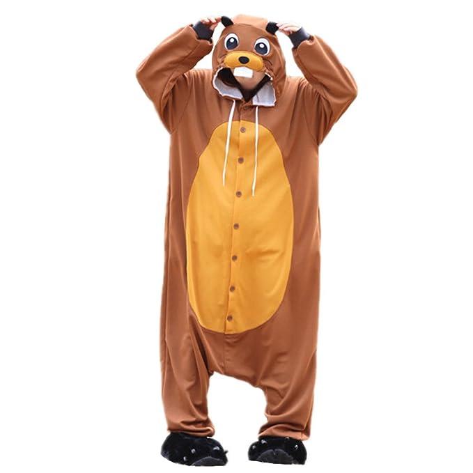 wotogold Animales Cosplay del traje Castor Onesies unisex pijamas para adultos