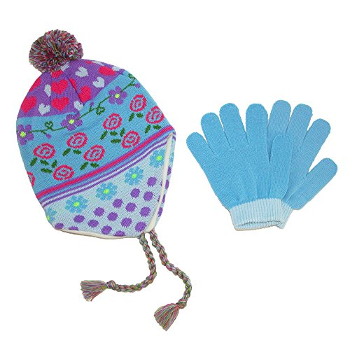 CTM Girls' 3-6X Peruvian Hat and Glove Set, Blue ()