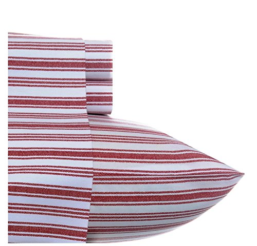 4pc Red Full Vertical Stripes Deep Pocket Sheet Set, Brick Printed Design Checkered Novelty Pattern Kids Bedding Bedroom, Percale Cotton, Luxurious Colorful Traditional Teen Themed (Checkered Sheets)