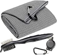 Golf Towels, Microfiber Waffle Pattern Tri-fold Golf Towel - Brush Tool Kit with Club Groove Cleaner, with Cli