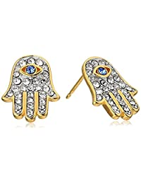 18k Yellow Gold Plated Sterling Silver Blue Sapphire Colored Swarovski Crystal and White Swarovski Crystal Evil Eye Stud Earrings