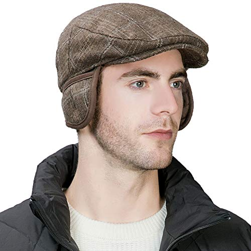Duckbill Driver - Winter Trapper Hat Men Wool Newsboy Ivy Cap Ear Flaps Golf Cabbie Driver Flat Duckbill Irish Hats Hunting Snow Women Coffee