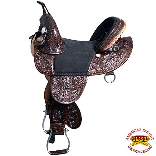 HILASON 13″ 14″ 15″ 16″ 17″ 18″ Classic Series TREELESS Western Trail Barrel Racing American Leather Saddle TAN/Black/Brown/Mahogany