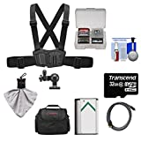 Sony AKA-CMH1 Chest Mount Harness with 32GB Card + NP-BX1 Battery + Case + HDMI Cable + Accessory Kit for Action Cam HDR-AS100V, AS15 & AS30V Camcorders