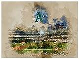 Oakland Athletics Poster Watercolor Art Print 12x16 Wall Decor