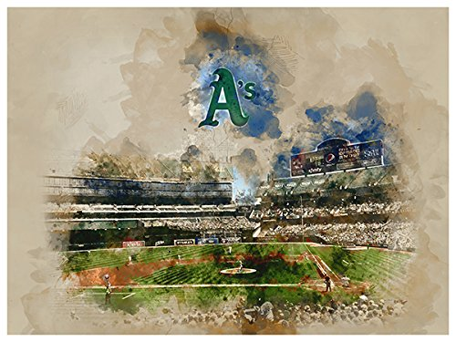 ATLAS Oakland Athletics Poster Watercolor Art Print 12x16 Wall Decor - Oakland Athletics Water
