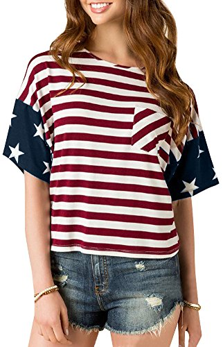 Womens 4th Of July Blouse Printed USA Flag Shirts Cotton Short Sleeve Tunic Casual Patriotic Tops US Flag XS