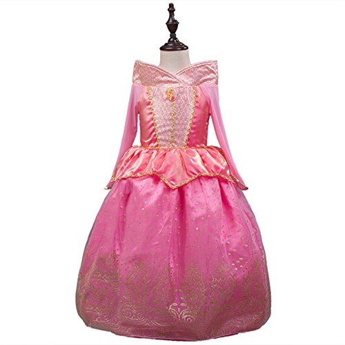 [Katoot@ Sleeping Beauty Princess costume spring autumn girl Aurora Dresses party Costume (6T, Pink)] (Toddler And Girls Aurora Princess Costumes)