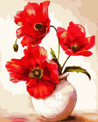 Amazon.com Diy oil painting paint by number kit- Two Flowers Vases 1620 inch.  sc 1 st  Amazon.com & Amazon.com: Diy oil painting paint by number kit- Two Flowers Vases ...