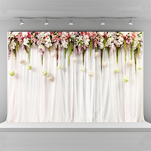 (10x6.5ft Wedding Ceremony Photo Backdrops Seamless Cloth White Pink Lace Curtain Backgrounds for Photography Party Decorations)