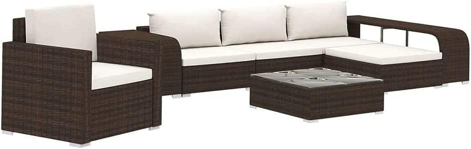 vidaXL Set Muebles de Jardín 8 Piezas con Cojines Ratán Sintético Casa Hogar Terraza Piscina Parque Decoración Diseño Conjunto Mobiliario Marrón: Amazon.es: Hogar