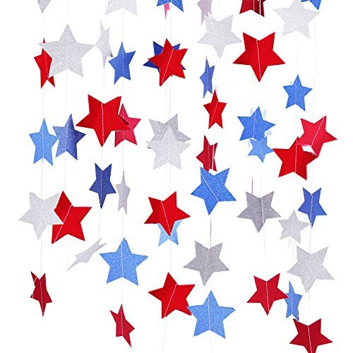 Red White Blue Star Streamers Patriotic 4th of July Decorations,4 Pack (blue star)