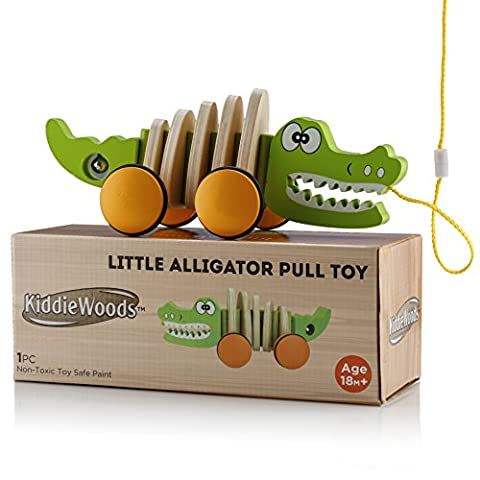 Kiddie Woods Alligator Wooden Pull Along Toy - Best Toys for Baby's and Toddlers