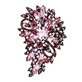 EVER FAITH Women's Austrian Crystal Wedding Flower Leaf Bouquet Brooch Pink Antique Gold-Tone