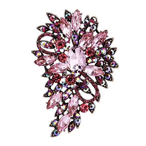 EVER FAITH Women's Austrian Crystal Wedding Flower Leaf Bouquet Brooch Pink Antique Gold-Tone - Austrian Crystal Flower