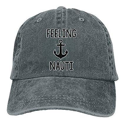 1a5f2eaa640 Amazon.com   Feeling Nauti Anchor Unisex Fashion Denim Bucket Hat Prints  Popular Visor Caps Cool Adjustable Dad Cap Asphalt   Sports   Outdoors