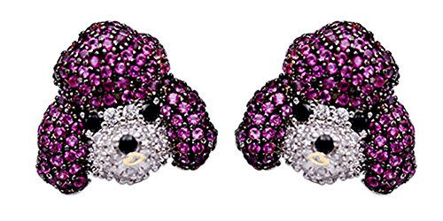 Pet Puppy Dog Poodle Animal Cluster Fashion Stud Earrings In 14K Yellow Gold Over Round Cut Multi Color CZ Ring ()
