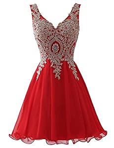 Zechun Womens Gold Lace Applique Prom Dresse Homecoming Evening Gown