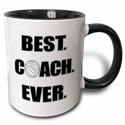 3dRose 195231_4 Volleyball - Best Coach Ever Mug, 11 oz, Black
