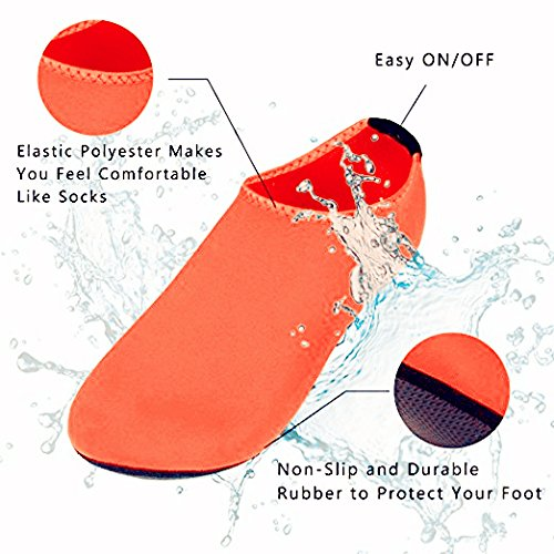 Lightweight Shoes Yoga Orange Exercise Water Kids Women MIUINCY Quick and Men Dry Beach Aqua Socks for Pool Surf qAnFw8