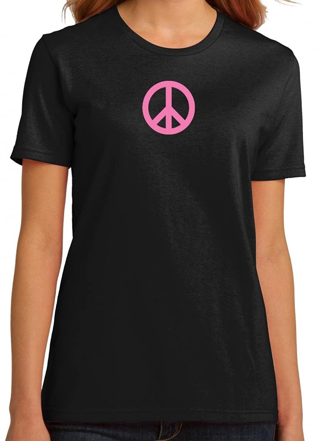 Yoga Clothing For You Ladies 100% Organic Cotton Pink Peace Sign Tee Shirt