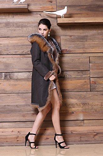 Hooded Sheepskin Leather Coat with Fox Fur Trim