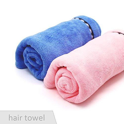 Free walker microfiber hair drying towel, long hair wrap, fast drying hair cap blue & pink (2 pack) (Microfiber Free Towel)
