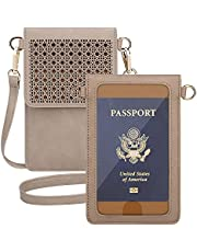 AnsTOP Lightweight Leather Phone Purse, Small Crossbody Bag Mini Cell Phone Pouch Shoulder Bag with 2 Straps for Women (Apricot)