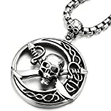 Best COOLSTEELANDBEYOND Friend Male Necklaces - Stainless Steel Large Circle Pirate Skull Pendant Necklace Review