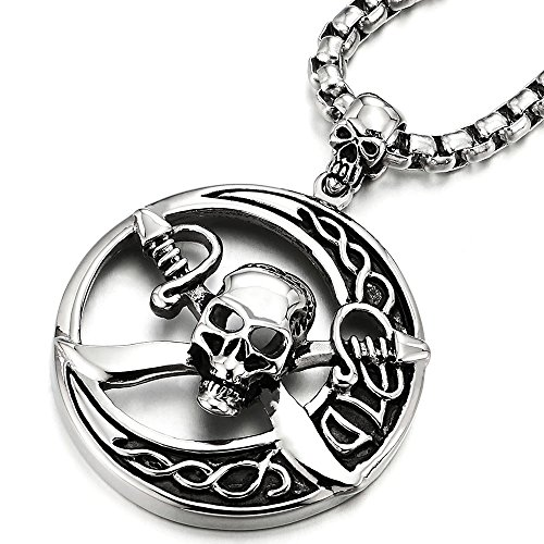 Pirate Skull Pendant - COOLSTEELANDBEYOND Stainless Steel Large Circle Pirate Skull Pendant Necklace for Men, 30 in Chain, Gothic Tribal
