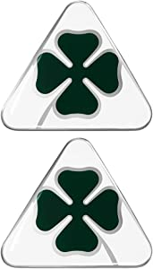 Alfa Romeo 21841 3D Sticker 2 Four-Leaf Clovers DX+SX, Green and White, Set of 2, 10 cm, 95 mm x 85 mm