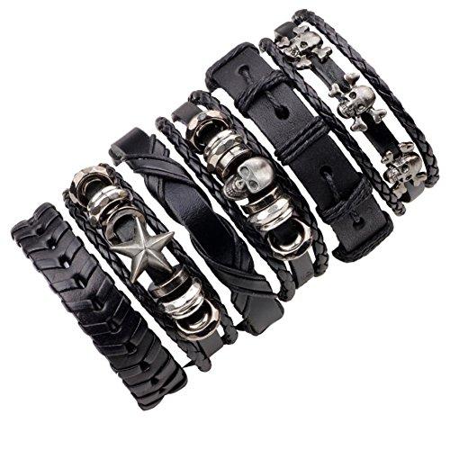 Bath Jewelry Pattern Diamond (angel3292 6Pcs Faux Leather Bracelet Men Multilayer Punk Skull Star Braid Bangle Jewelry)