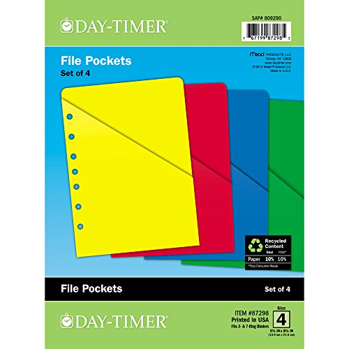 Day-Timer ColorLife Loose-Leaf Slash Pockets, Desk Size, 5.5  x 8.5 Inches, Assorted Colors, 4 Pack (87298)