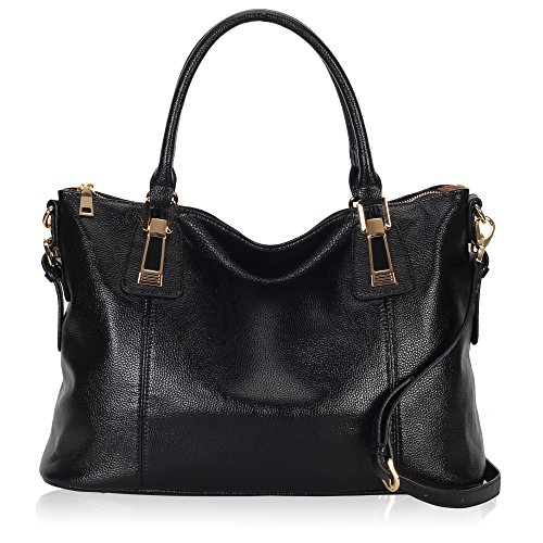 Leather Top Zip Large Tote (Hynes Victory Womens Large Tote Top Handle Shoulder Handbag Crossbody Bags for Ladies Black)