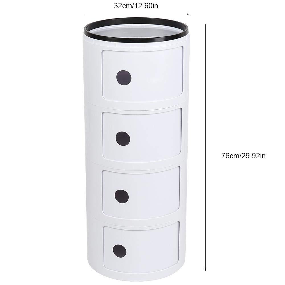 EBTOOLS Mesilla de Noche Redonda con 4 Espacio de Almacenamiento Mesita de Noche Gabinetes de Almacenaje Casillero Modular Multifunciona Color Blanco