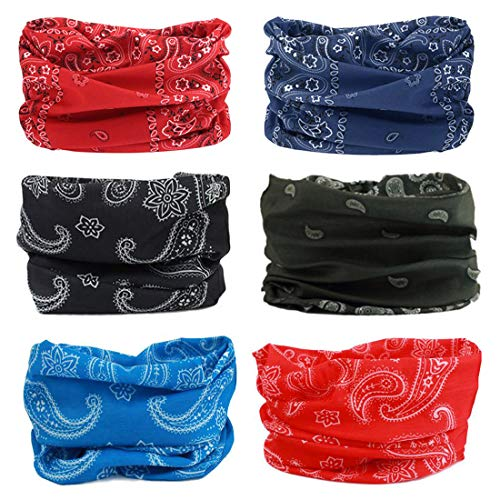 FAYBOX 6pcs Magic Wide Wicking Headbands Men Women Outdoor Headwear Bandana Sports Scarf Tube UV Face Mask Workout Yoga Running (Headwear Headband Bandana)