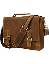 Texbo Full Grain Mens Cowhide Leather Messenger Bag Briefcase Fit 15.6 Inch Laptop
