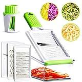 Mandoline Slicer - 5 Interchangeable Blades - Vegetable Slicer, Cheese Grater, Zester, Julienne Mandoline Slicer & Veggie Spiralizer