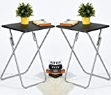 Aingoo 2 Pack Folding TV Trays Snack Metal Dinner Tray Small Folding Table Black