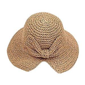 Women's Bowknot Straw Hat Stripe Outdoor Floppy Foldable Roll up Beach Cap Sun Hat