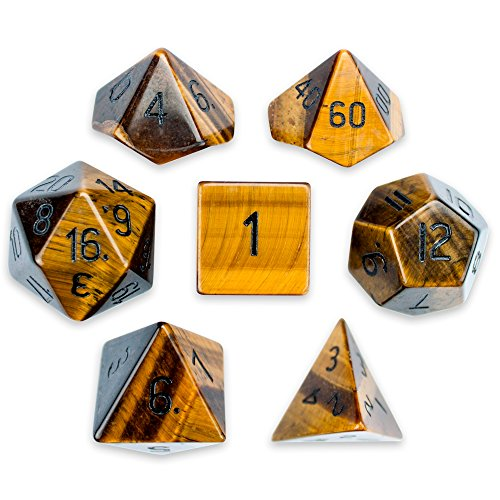 Wiz Dice Set of 7 Premium Handmade Stone Polyhedral Choose from 12 Types! (Tigers Eye) ()