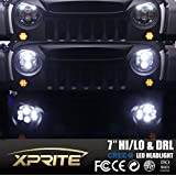 Xprite G1 Series Black 7-inch 120W 10400 Lumens Hi/Lo Beam Cree LED Headlights With Halo Ring DRL For Jeep Wrangler JK Unlimited TJ LJ 1997-2017