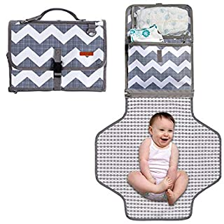 Baby Portable Diaper Changing Pad, Waterproof Travel Changing Mat Station, Built -in Padded Head Rest, Includes Mesh Pockets for Diapers and Wipes