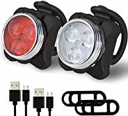 USB Rechargeable Bike Lamp Set LED Super Bright Front Headlight IP64 Waterproof Bike Lights Front and Back